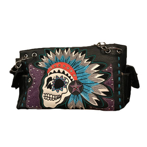 Black Skull with Feather Headdress Shoulder Bag