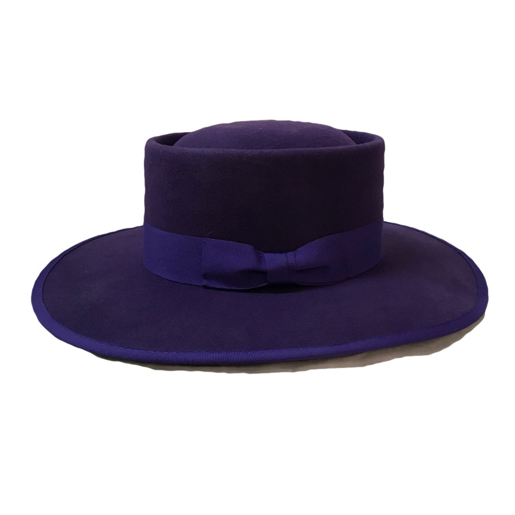 Vida Wide Brim Hat- Purple Wool