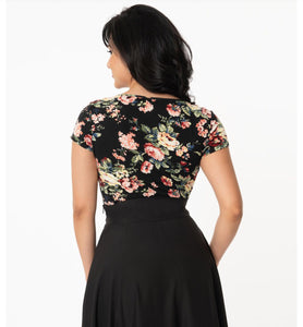 Black and Rose Floral Print Sweetheart Rosemary Top