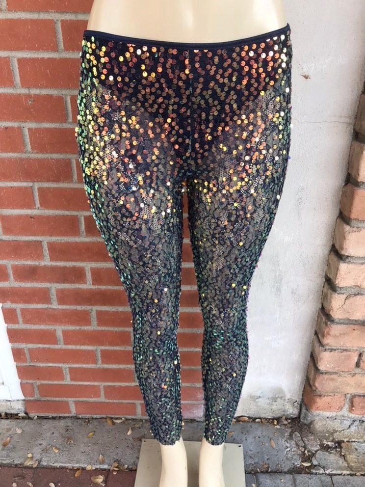 Sheer Navy and Gold Iridescent Sequin Leggings