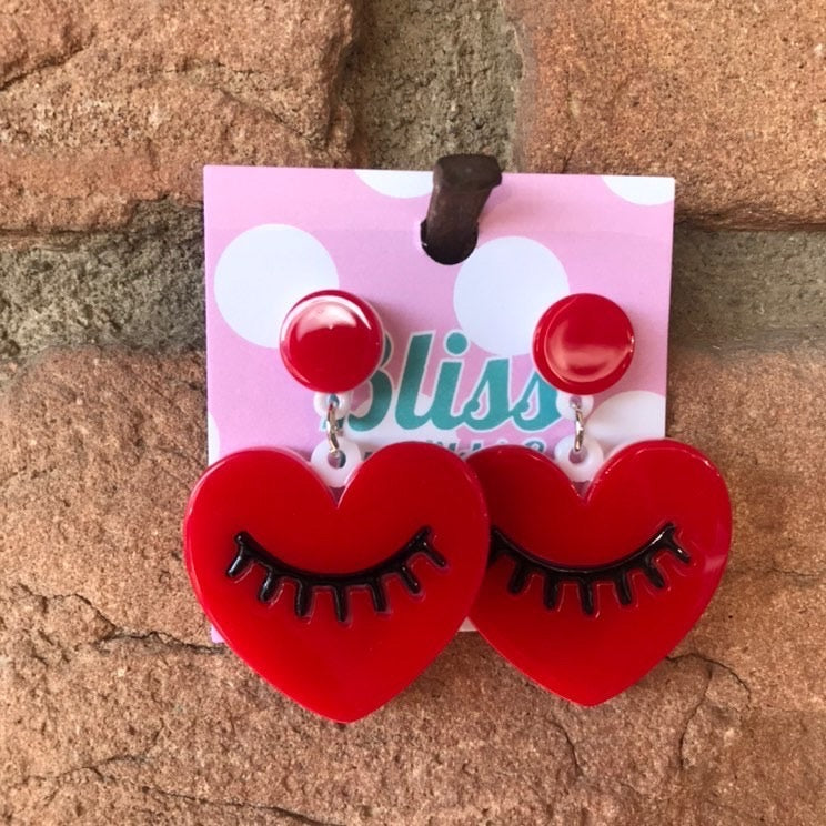 Heart with Closed Eye and Lashes Acrylic Statement Earrings