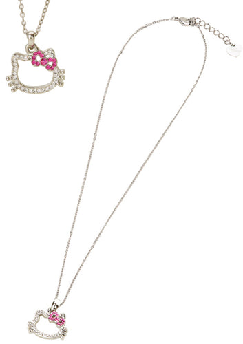 hello kitty rhinestone die cut face necklace