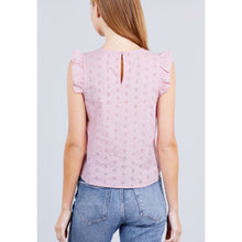 Load image into Gallery viewer, blush pink eyelet ruffle top