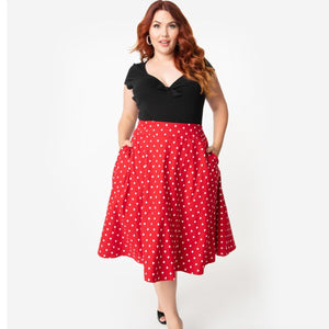 Red and White Polka Dot High Waist Vivian Skirt- Plus Size