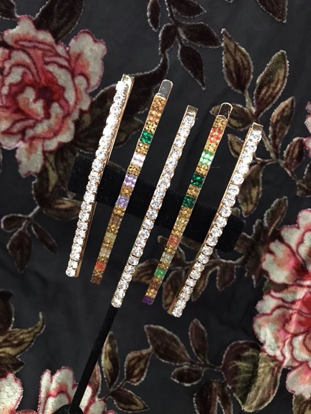 Long Gem Colorful and Clear Hair Pins Set of 5