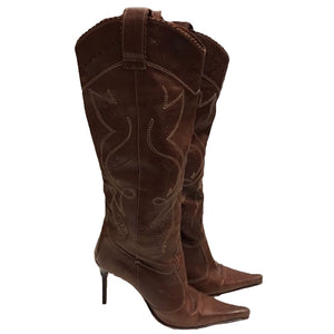 Brown Knee High Cowboy Boots