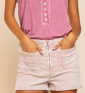 Powder Pink Colored Corduroy Mini High Waist Shorts