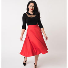 Load image into Gallery viewer, Red Vivian Swing Skirt- Size Large Last One!