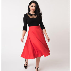 Red Vivian Swing Skirt- Size Large Last One!