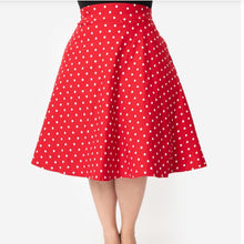 Load image into Gallery viewer, Red and White Polka Dot High Waist Vivian Skirt- Plus Size