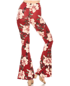 floral pink and red bell bottoms