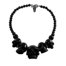 Load image into Gallery viewer, Human Skull Acrylic Necklace- Black