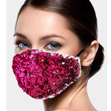 Load image into Gallery viewer, Magenta and Silver Mermaid Sequin Adjustable Mask