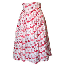 Load image into Gallery viewer, White and Pink Flamingo Swing Skirt