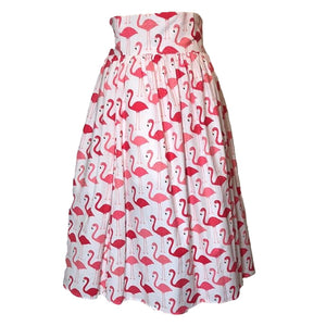 White and Pink Flamingo Swing Skirt