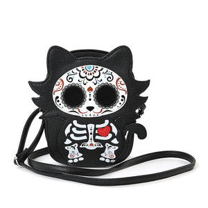 Tattooed Skeleton Kitty Cross Body Purse