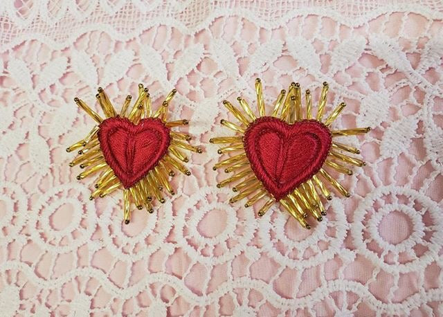 Red sacred heart earrings