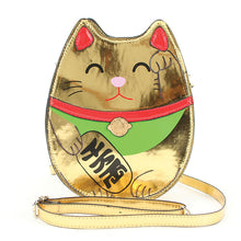 Load image into Gallery viewer, Gold Lucky Cat Cross Body Purse
