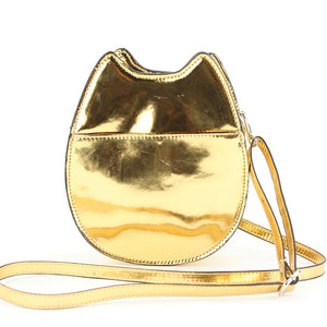 Gold Lucky Cat Cross Body Purse