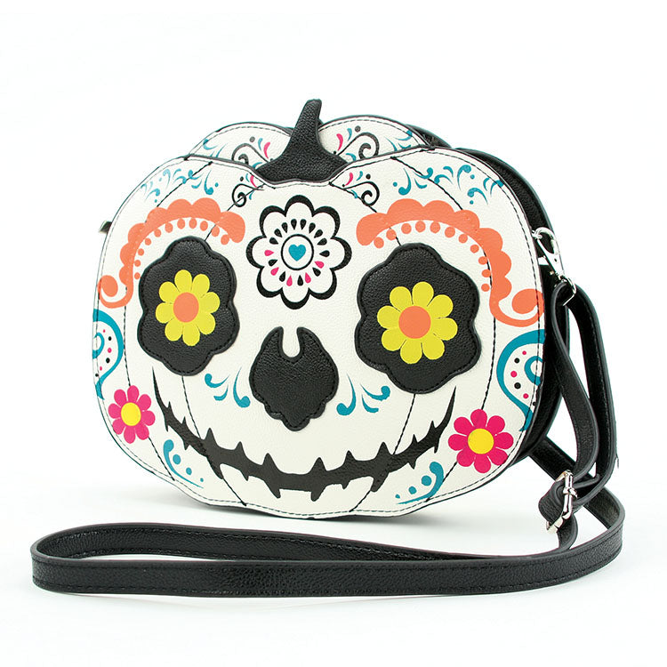 Sugar Skull Jack O' Lantern Cross Body Purse