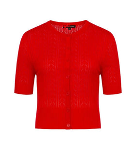 Red Lasercut Wendi Cardigan- Size Small
