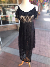 Load image into Gallery viewer, Black Lace Sheer Ruffle Dress