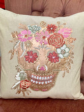 Load image into Gallery viewer, Rose gold sugar skull pillow