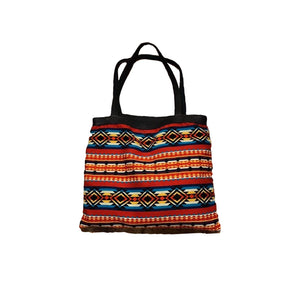 Red, Teal, and Mustard Striped Woven XL Tote Bag