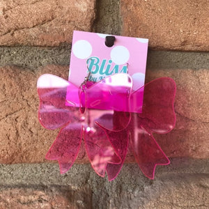 Big Bow Acrylic Statement Earrings- 2 Colors