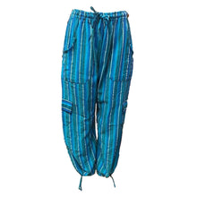 Load image into Gallery viewer, Turquoise stripe cotton lounge pants