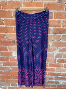 Navy and Pink Geometric Print Wide Leg Pants