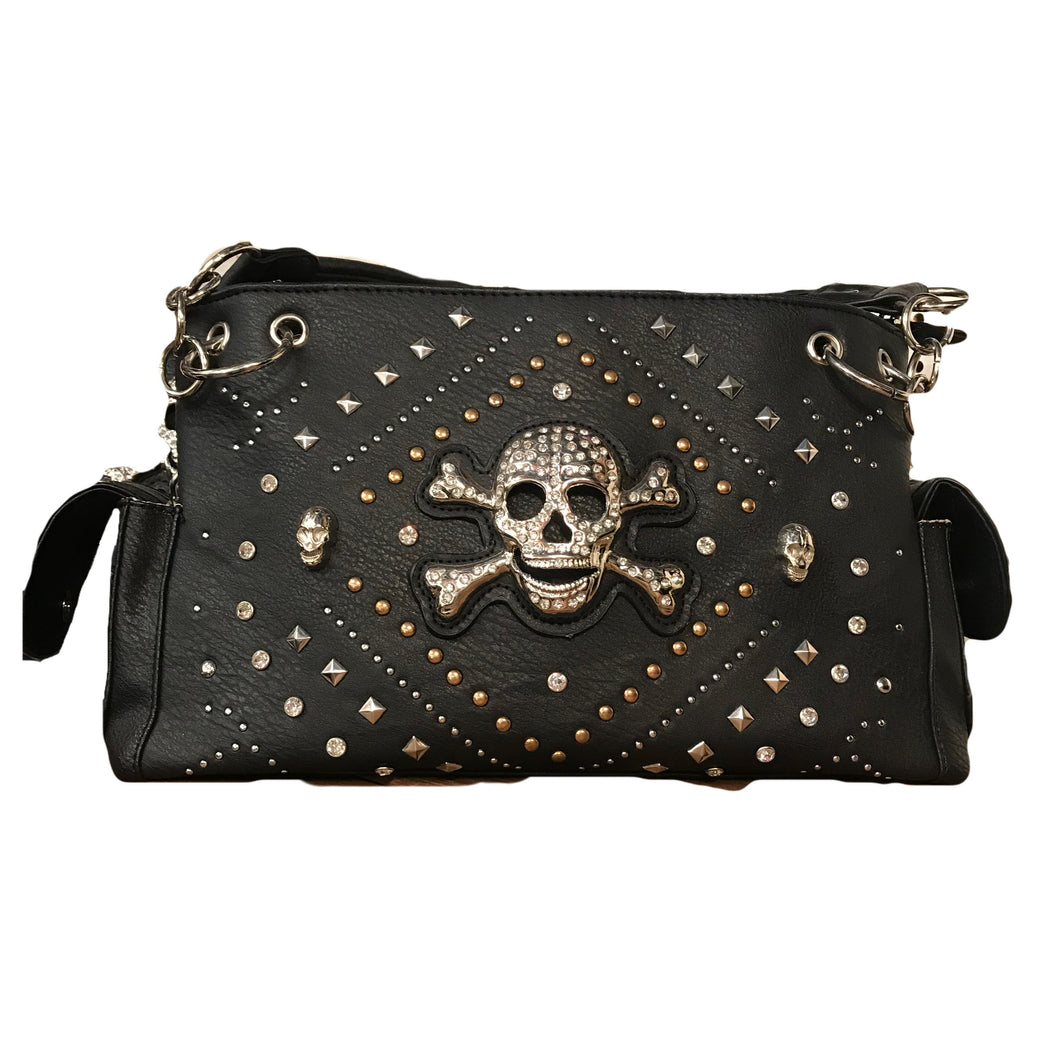 Black Skull with Gold Studded Geometric Pattern Shoulder Bag