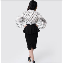 Load image into Gallery viewer, Black Peplum Boulevard Pencil Skirt