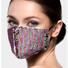 Load image into Gallery viewer, Pink Champagne and Silver Mermaid Sequin Adjustable Mask