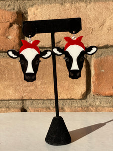 Sweet Bessie Cow Acrylic Statement Earrings