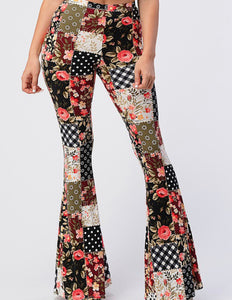 Patchwork Print Bell Bottom Leggings