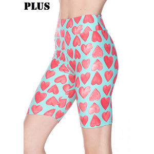 Plus Size Heart biker shorts