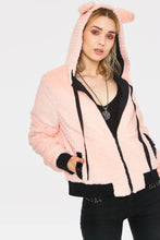 Load image into Gallery viewer, Faux Fur Pink and Black Kitty Zip Up Hoodie