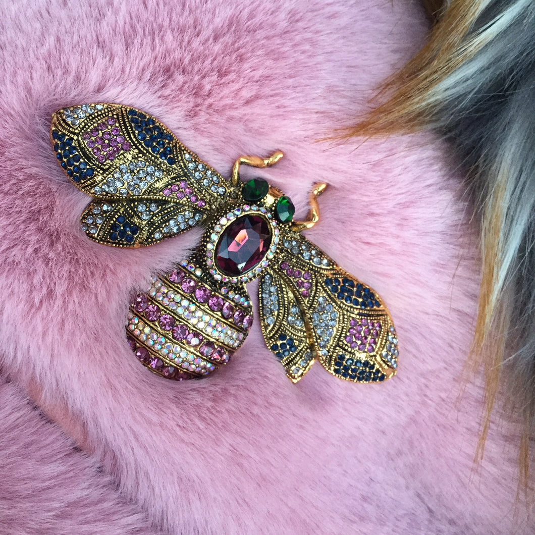 Crystal Pink and blue Bee brooch