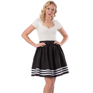 High Tide Black with White Stripes Skirt