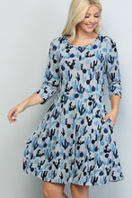 Load image into Gallery viewer, Blue Cactus Tunic Dress
