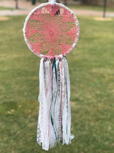 Load image into Gallery viewer, Pink crochet and lace dream catcher
