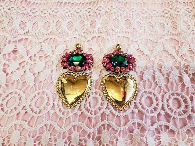 Gold Heart and Rhinestone Statement Earrings