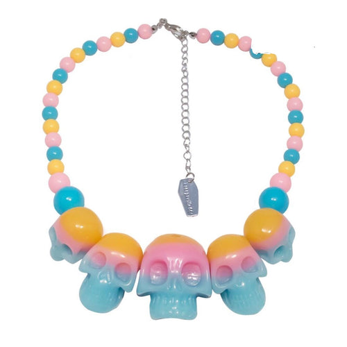 Pastel goth skull necklace