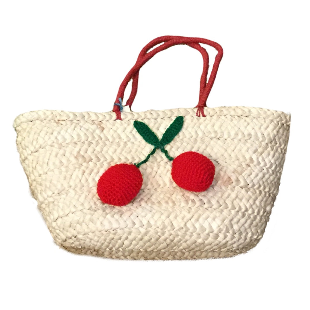 Woven Crochet Cherry Tote Bag