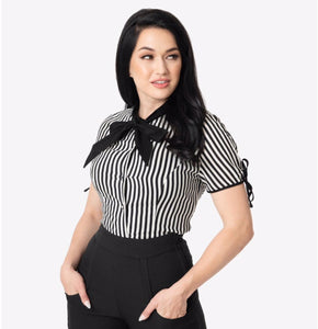 Black and White Stripe Bow Tie Chita Top- LAST ONE!