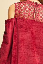 Load image into Gallery viewer, Burgundy Lace and Velvet Cold Shoulder Top