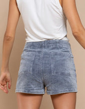 Load image into Gallery viewer, Denim Colored Corduroy Mini High Waist Shorts