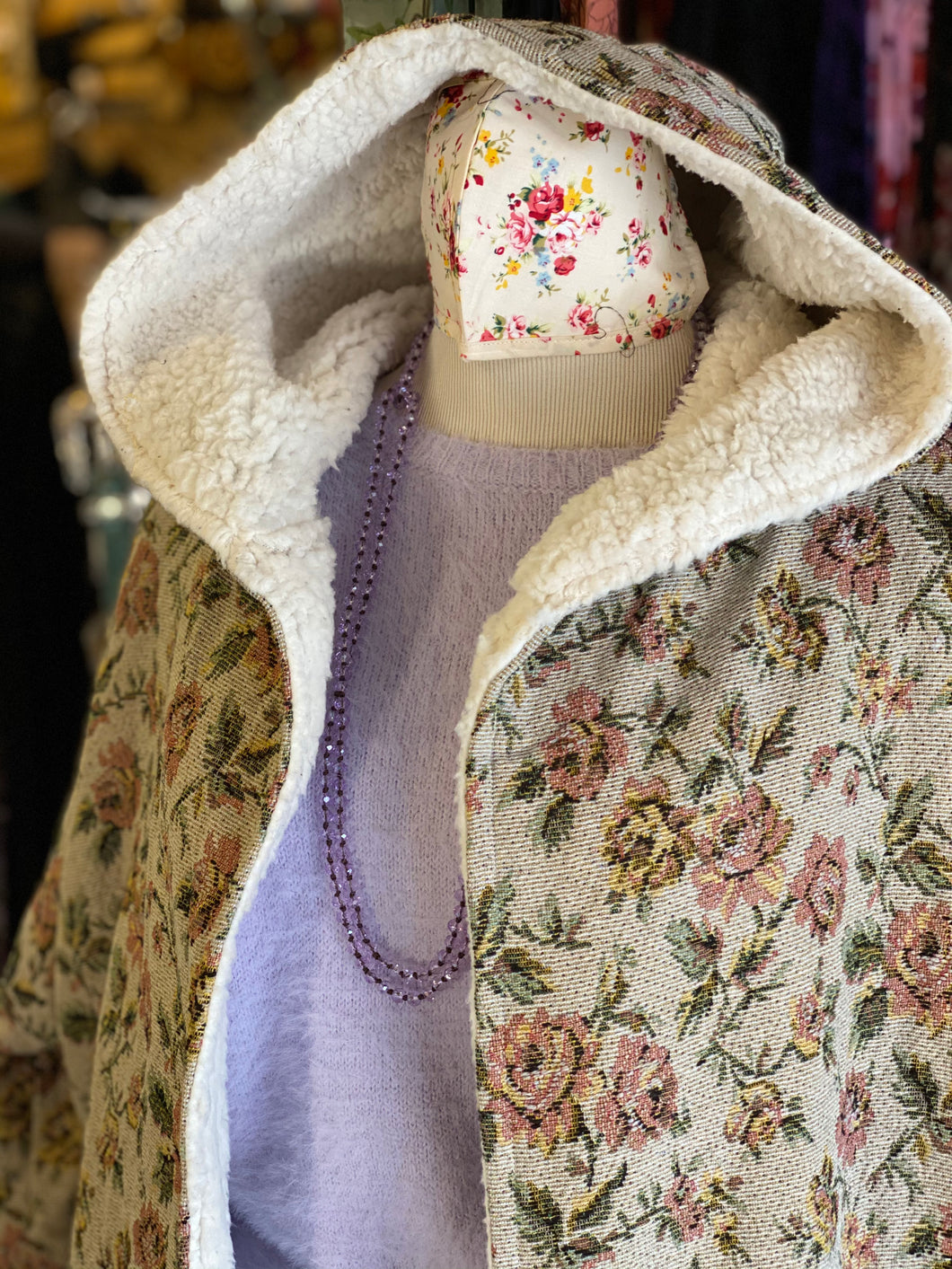 Taupe Floral Hooded Jacket