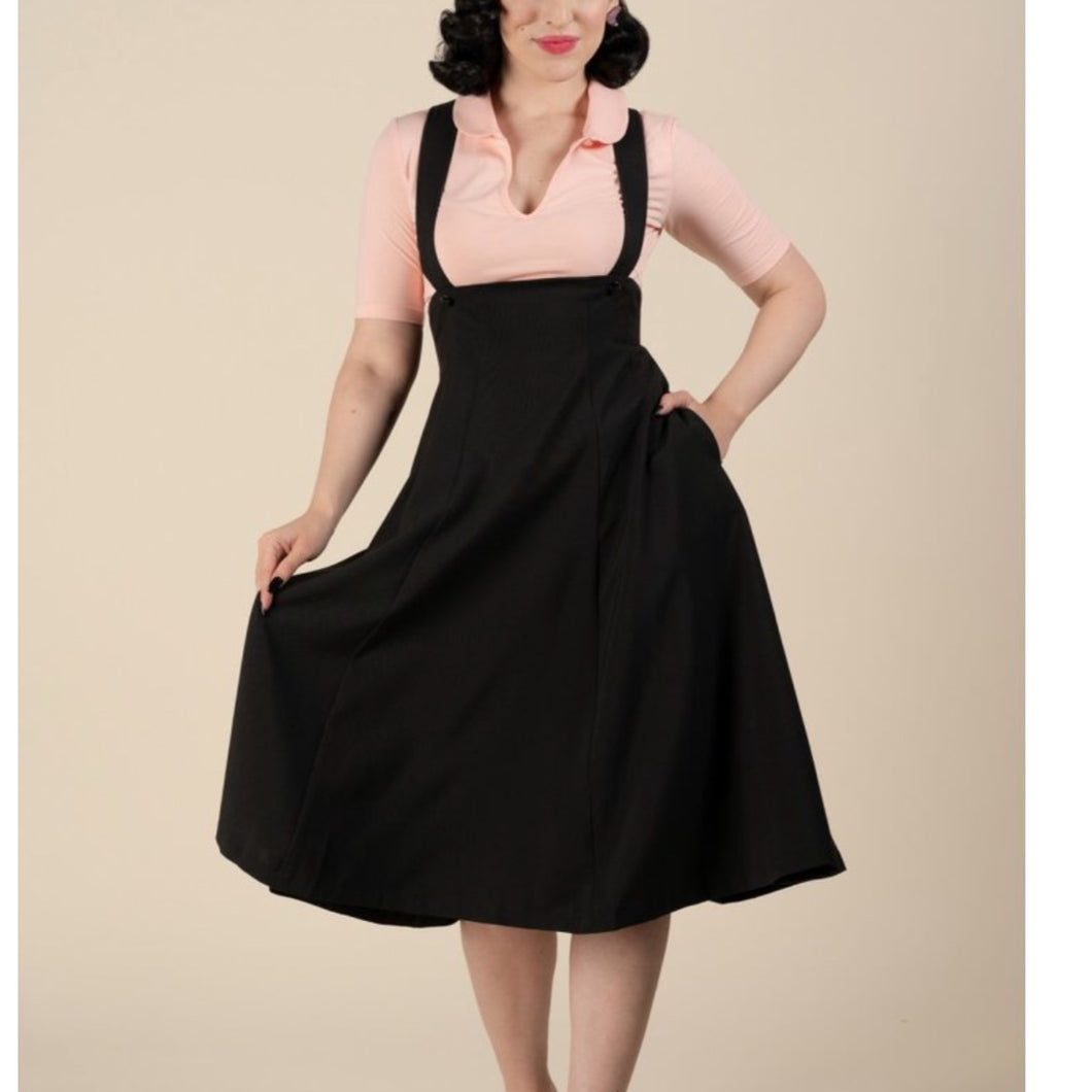Black Suspender Swing Skirt